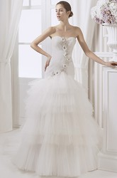 Trumpet Sweetheart Ruched Long Tulle Wedding Dress With Flower And Tiers