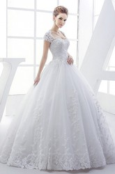 Queen Anne Lace Elegant Ball Gown Wedding Dress With Corset And Keyhole Back