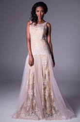 A-Line Sleeveless Long Appliqued Scoop-Neck Tulle&Lace Prom Dress
