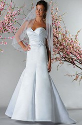 Criss-cross Sweetheart Top Mermaid Satin Bridal Gown With Flowers And Pearls