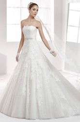 Strapless Back-Bow A-Line Lace Wedding Dress With Beaded Waist And Brush Train