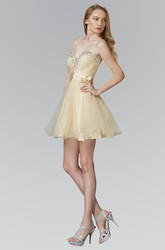 A-Line Short Sweetheart Sleeveless Tulle Satin Dress With Beading And Criss Cross