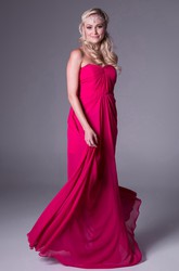 Ruched Sleeveless Sweetheart Empire Chiffon Bridesmaid Dress With Brush Train