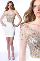 Short Sheath One-Shoulder Jersey Homecoming Dress With Gemstone Embellishment