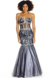 Mermaid Maxi Sleeveless Sweetheart Beaded Tulle&Satin Prom Dress With Lace