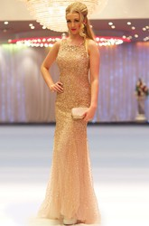 Sheath Sleeveless Scoop-Neck Floor-Length Sequins&Tulle Prom Dress
