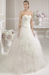 Ball Gown Ruffled Sweetheart Organza Wedding Dress With Criss Cross And Flower