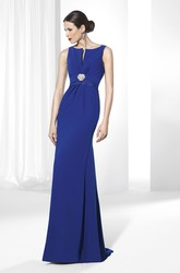 Sheath Long Sleeveless Broach Chiffon Prom Dress With Lace