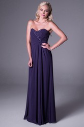 Sweetheart Sleeveless Ruched Chiffon Bridesmaid Dress With Beading