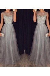 A-Line Princess Scoop Sleeveless Tulle Beading Sweep Brush Train Dresses