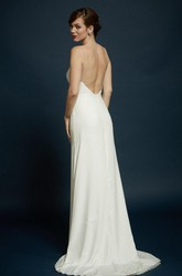 Carmeuse Delicate Strap Bridal Gown With Slight Flare