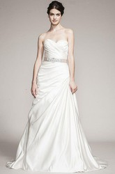 A-Line Sweetheart Jeweled Satin Wedding Dress With Criss Cross And Side Draping