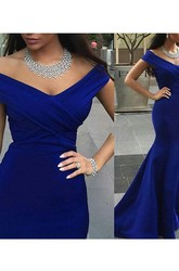 Trumpet Mermaid Off-the-Shoulder Sleeveless Satin Sweep Brush Train Dresses