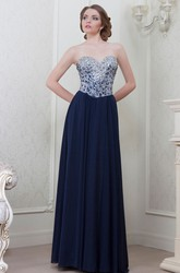 A-Line Crystal Maxi Sweetheart Sleeveless Chiffon Evening Dress