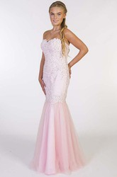 Trumpet Beaded Sweetheart Long Sleeveless Prom Dress