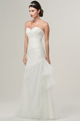 Sheath Draped Sweetheart Organza Wedding Dress With Criss Cross And Broach