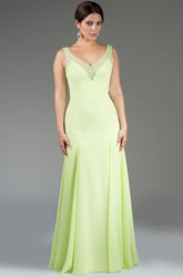 V Neck Chiffon Long Bridesmaid Dress With Sequined Straps And Neckline