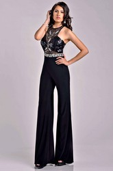 Sleeveless Jewel Neck Beaded Bodice Prom Dress With Wide Leg Pant