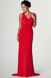 Sleeveless V-Neck Ruched Jersey Prom Dress With Beading And Brush Train
