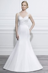 Trumpet V-Neck Sleeveless Floor-Length Appliqued Satin Wedding Dress With Brush Train And Low-V Back