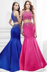 Mermaid Maxi Sleeveless Scoop Neck Beaded Satin Prom Dress