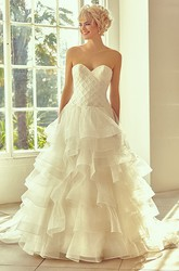 Long Sweetheart Tiered Organza Wedding Dress With Court Train And V Back