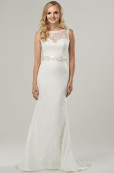 Scoop Long Jeweled Lace Wedding Dress With Sweep Train And Illusion