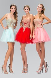 A-Line Short Sweetheart Sleeveless Dress With Beading