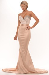 Mermaid Beaded Sleeveless Floor-Length Sweetheart Satin Prom Dress With Backless Style And Appliques