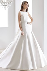 Jewel-neck Satin Wedding Gown with Beaded Belt and One-Strap Back