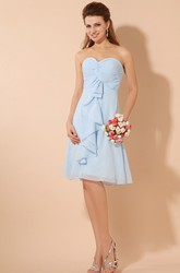 Sweetheart Sleeveless Chiffon Bridesmaid Dress With Crisscross Ruching