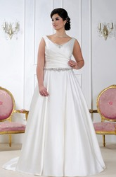 V-Neck Strapless Ruched Satin Gown With Jeweled Waist