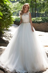 Ball Gown Long Bateau Sleeveless Low-V-Back Tulle Dress With Lace And Waist Jewellery