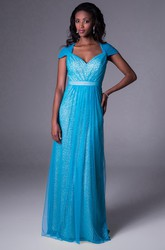 Cap-Sleeve V-Neck Beaded Chiffon Bridesmaid Dress With Ruching And Illusion