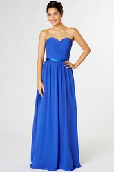 Maxi Criss-Cross Sweetheart Sleeveless Chiffon Bridesmaid Dress