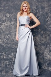 Backless Sweetheart Ruched Long Satin A-line Dress