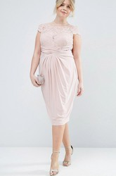 Pencil Cap-Sleeve Scoop-Neck Ruched Knee-Length Chiffon Bridesmaid Dress With Illusion