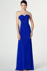 One-Shoulder Beaded Sleeveless Chiffon Prom Dress