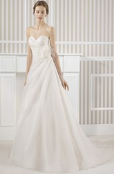 A-Line Sweetheart Satin Wedding Dress With Criss Cross