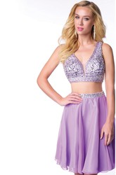 Two-Piece Sleeveless Chiffon Short Homecoming Dress With Bling Bust