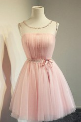Simple Jeweled Sleeveless Short Tulle Dress