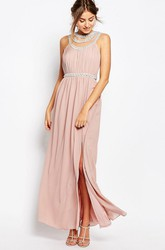 Sheath Ankle-Length Split-Front Sleeveless Scoop-Neck Chiffon Bridesmaid Dress With Beading