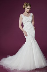 V-Neck Long Appliqued Pleated Natural Lace&Tulle Wedding Dress