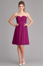 Knee-Length Criss-Cross Sleeveless Sweetheart Chiffon Bridesmaid Dress