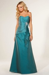 Long Sweetheart Criss-Cross Satin Bridesmaid Dress With Beading And Corset Back