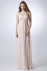 Sheath Criss-Cross Sweetheart Empire Sleeveless Chiffon Bridesmaid Dress