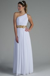 One Shoulder Pleated Chiffon Long Bridesmaid Dress With Crystal Belt