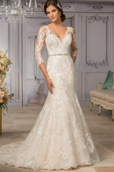 3-4 Sleeved V-Neck Mermaid Wedding Dress With Appliques And Bow