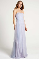 Side-Draped Strapless Tulle Bridesmaid Dress