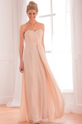 Sweetheart Long Chiffon Gown With Crisscrossed Ruches